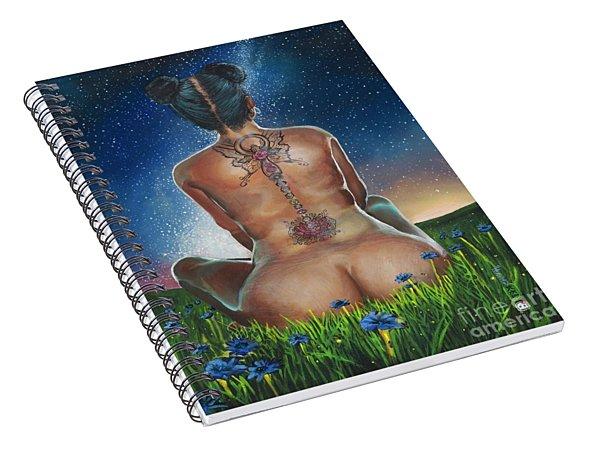 Spiral Notebook featuring the painting Indigo Blue by Baroquen Krafts