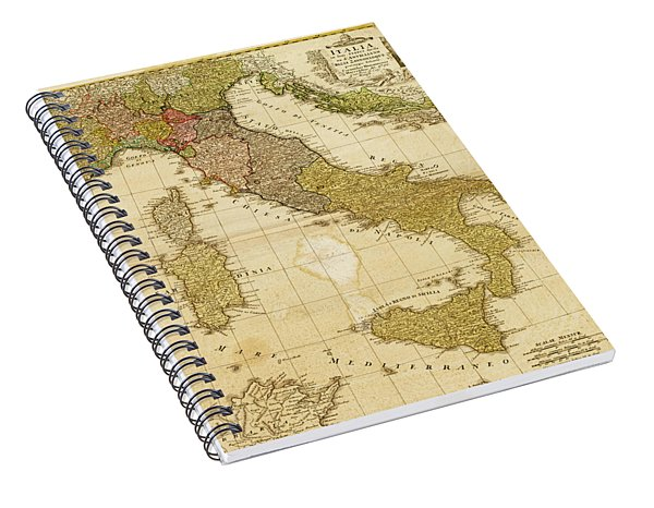 Italia Antique 1790 Italy  Map Spiral Notebook