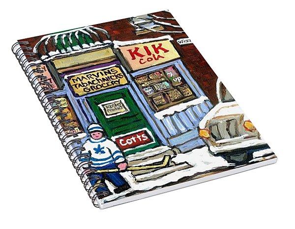 J J Joubert Vintage Milk Truck At Marvin's Grocery Montreal Memories Street Hockey Best Hockey Art Spiral Notebook