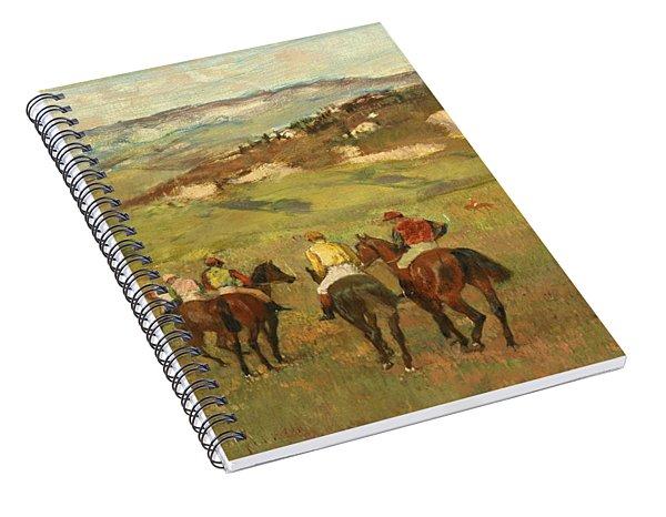 Jockeys On Horseback Before Distant Hills Spiral Notebook