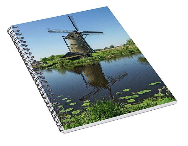 Kinderdijk Windmill Reflection Spiral Notebook