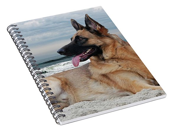 King Of The Beach - German Shepherd Dog Spiral Notebook