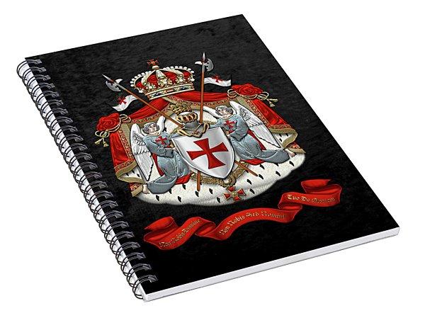 Knights Templar - Coat Of Arms Over Black Velvet Spiral Notebook