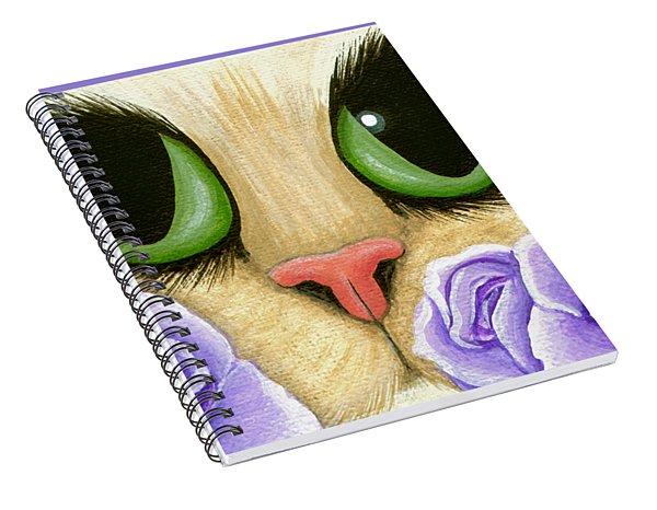 Lavender Roses Cat - Green Eyes Spiral Notebook