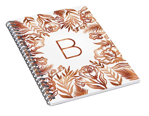 Letter B - Rose Gold Glitter Flowers Spiral Notebook