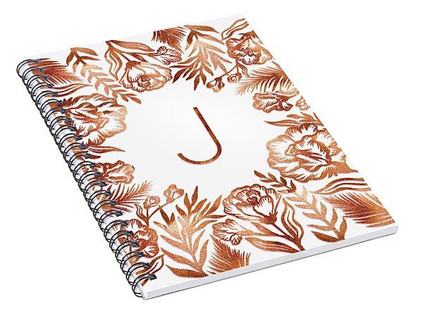 Letter J - Rose Gold Glitter Flowers Spiral Notebook