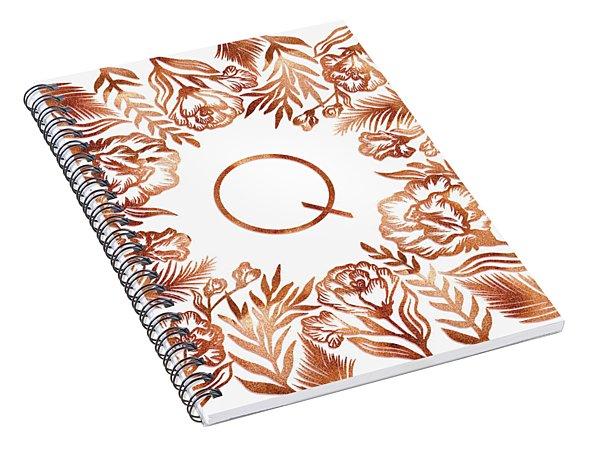 Letter Q - Rose Gold Glitter Flowers Spiral Notebook