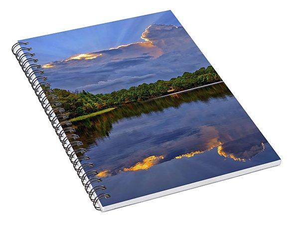 Light Beam Sunset Over Hidden Lake In Jupiter Florida Spiral Notebook