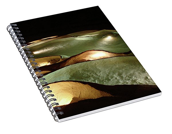 Spiral Notebook featuring the photograph Light Up The Dark - Lit Natural Rock Water Basins In Underground Cave by Menega Sabidussi