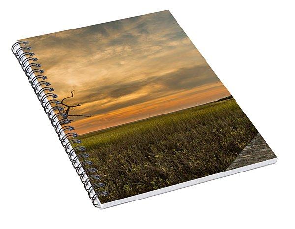 Lone Cedar Dock Sunset - Dewees Island Spiral Notebook