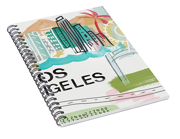 Spiral Notebook featuring the painting Los Angeles Cityscape- Art By Linda Woods by Linda Woods