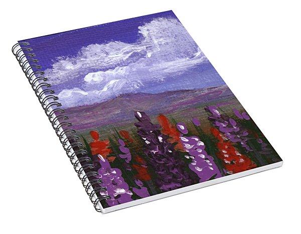 Spiral Notebook featuring the painting Lupine Land #3 by Anastasiya Malakhova