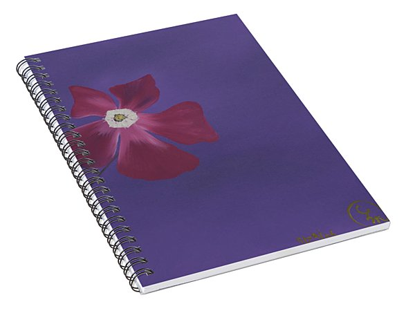 Magenta Flower On Plum Background Spiral Notebook