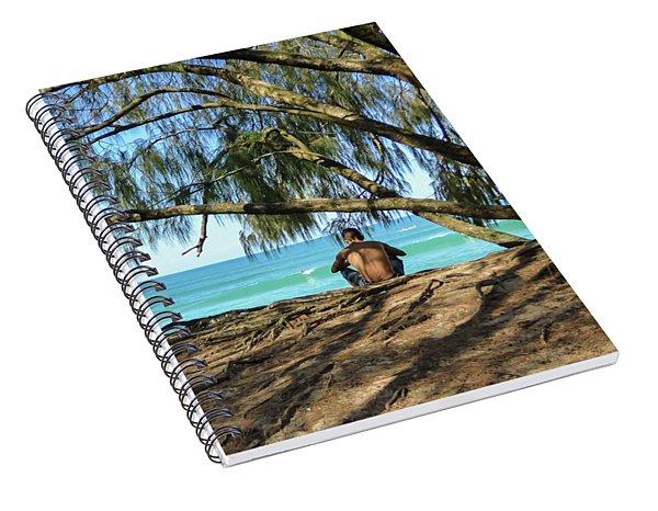 Man Relaxing At The Beach Spiral Notebook