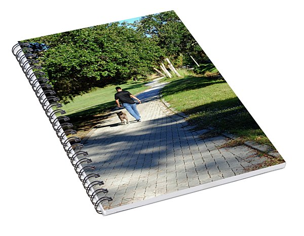Man Walking Dog Spiral Notebook