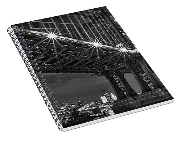 Manhattan Bridge Frames The Brooklyn Bridge Spiral Notebook