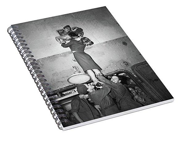 Marlene Dietrich Kissing Soldier Returning From Ww2 1945 Spiral Notebook