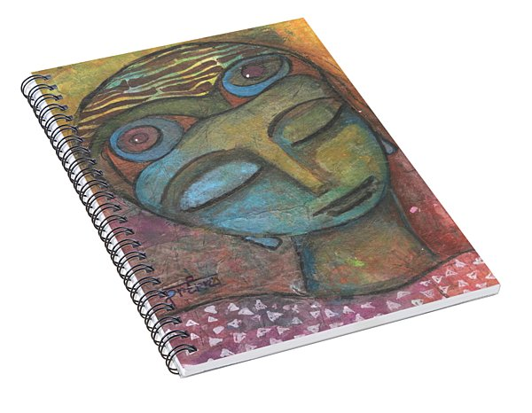 Spiral Notebook featuring the mixed media Meditative Awareness by Prerna Poojara