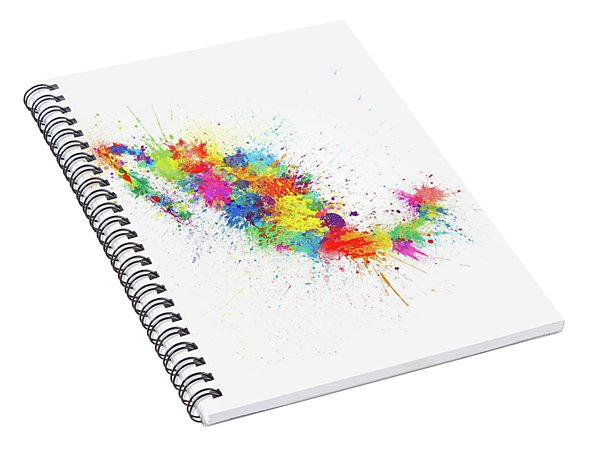 Mexico Paint Splashes Map Spiral Notebook