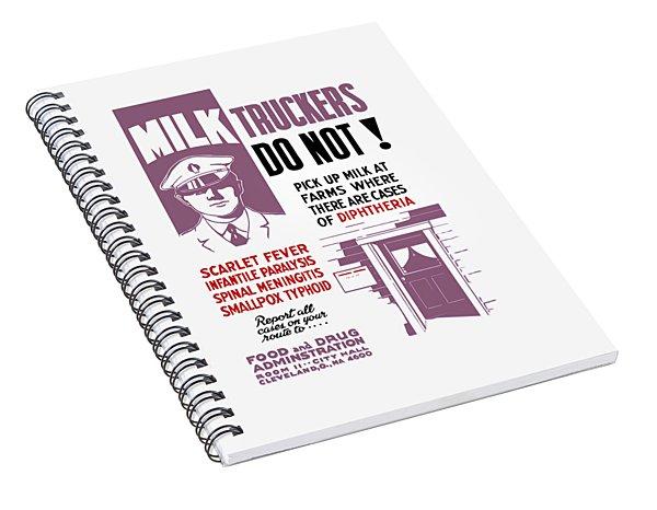 Vintage Milk Trucker Fda Warning  Spiral Notebook