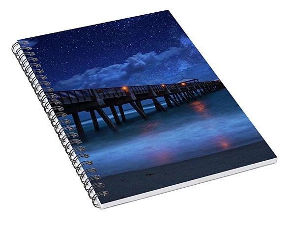 Milky Way Over Juno Beach Pier Under Moonlight Spiral Notebook