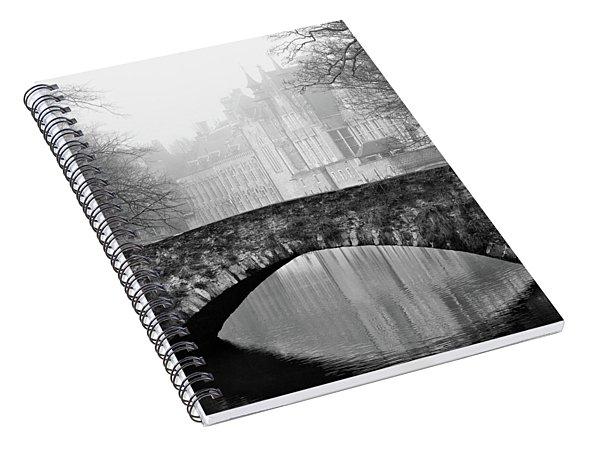 Misty Morning Canal In Bruges Spiral Notebook