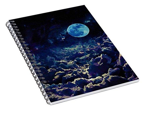 Moon Over Dark Clouds In Watercolor Spiral Notebook