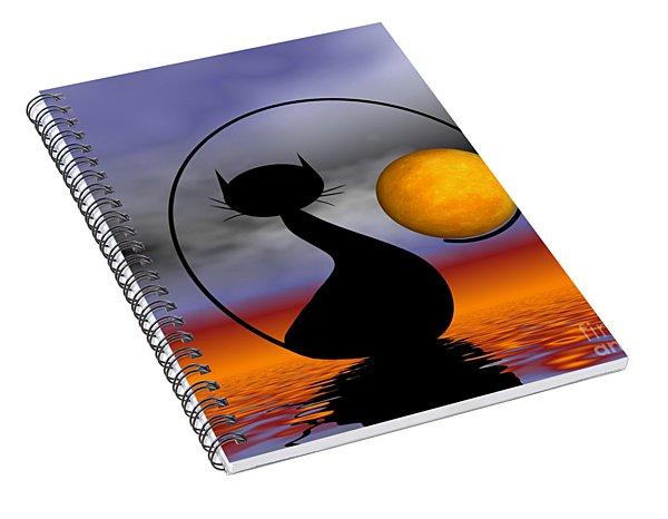 Mooncat's Waiting  Spiral Notebook