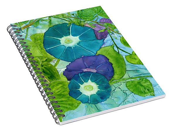 Morning Glories In Watercolor On Yupo Spiral Notebook
