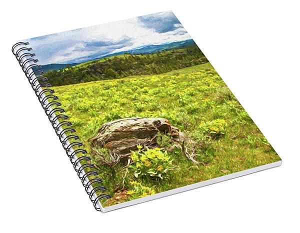 Mountain Meadow Impressionist Digital Art Spiral Notebook