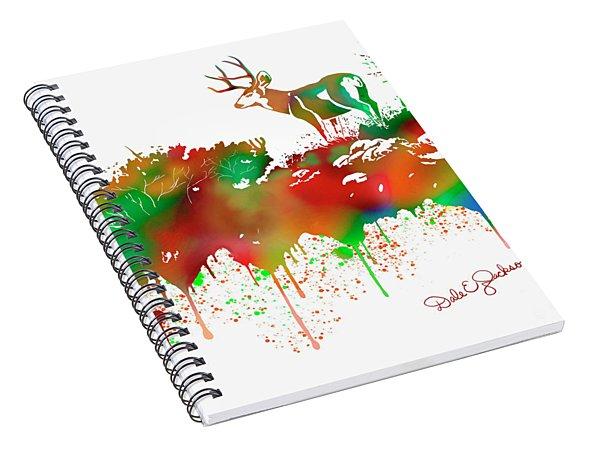 Mule Deer Buck Skyline Drip Pop Art II Spiral Notebook