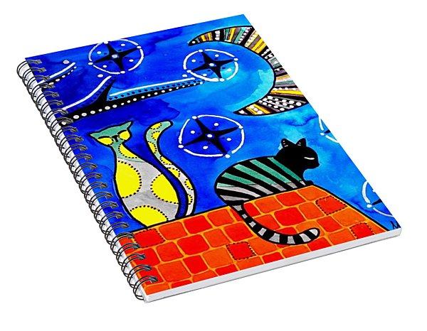 Night Shift - Cat Art By Dora Hathazi Mendes Spiral Notebook
