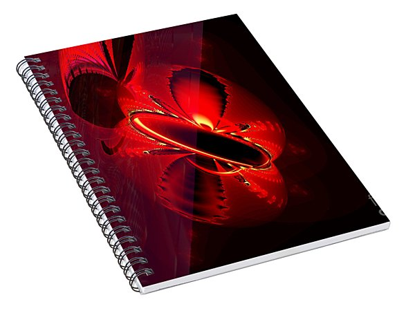 Outer Space - Red, Black And Yellow Mirrored Fractal Globes Spiral Notebook