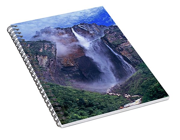 Spiral Notebook featuring the photograph Panorama Angel Falls Canaima National Park Venezuela by Dave Welling