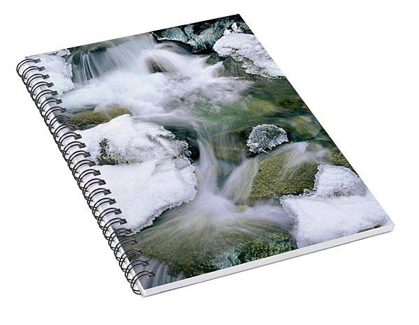 Panorama First Falls In Winter Eastern Sierras California Spiral Notebook