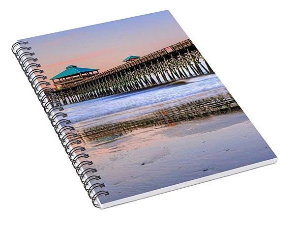 Pastel Sunrise On Folly Beach Pier In Charleston South Carolina Spiral Notebook