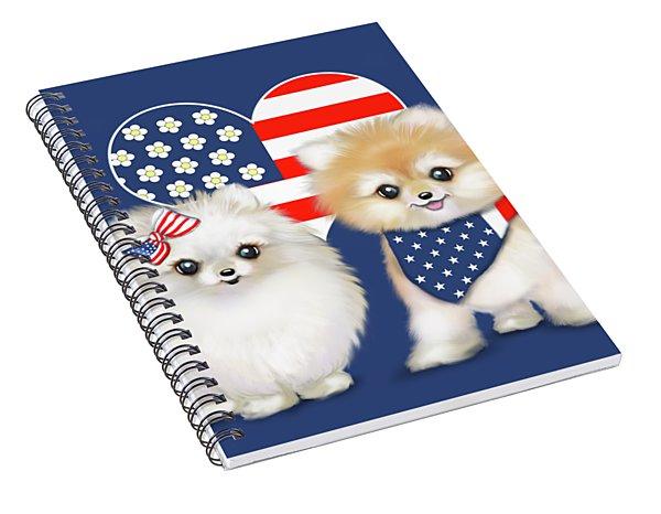 Patriotic Pomeranians Spiral Notebook
