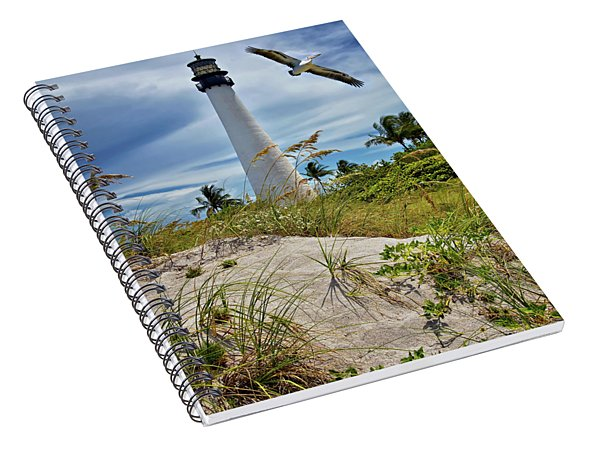 Pelican Flying Over Cape Florida Lighthouse Spiral Notebook