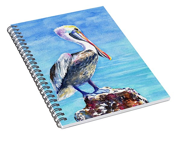 Pelican On A Post  Spiral Notebook