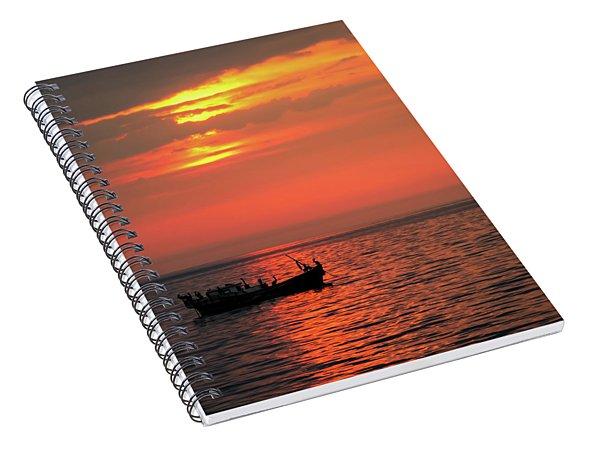 Pelicans At Sunset Spiral Notebook