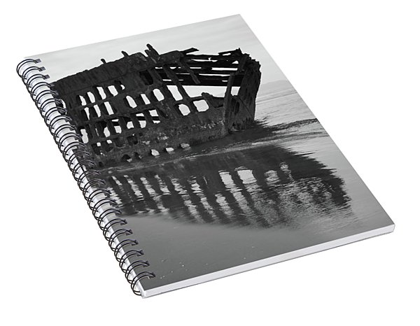 Peter Iredale Shipwreck In Black And White Spiral Notebook