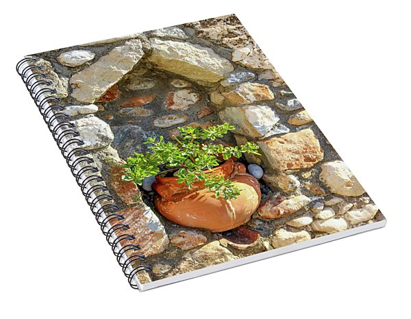 Potted Plant In Niche In Stone Wall In Greek Village Spiral Notebook