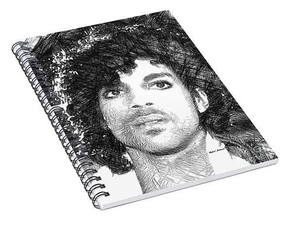 Spiral Notebook featuring the digital art Prince - Tribute Sketch In Black And White 3 by Rafael Salazar