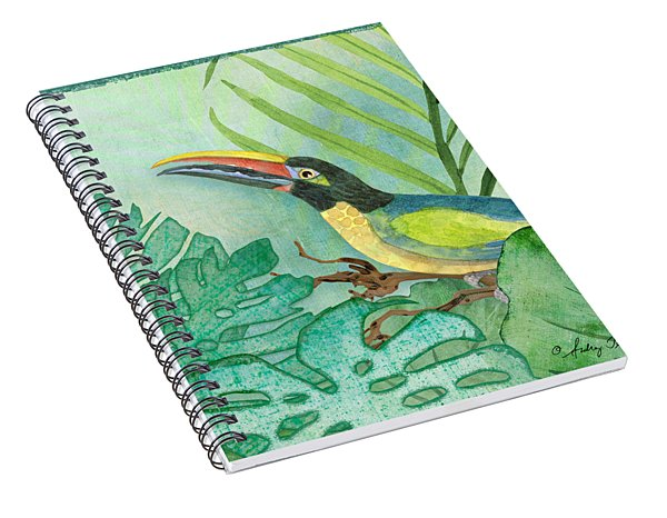 Rainforest Tropical - Jungle Toucan W Philodendron Elephant Ear And Palm Leaves 2 Spiral Notebook