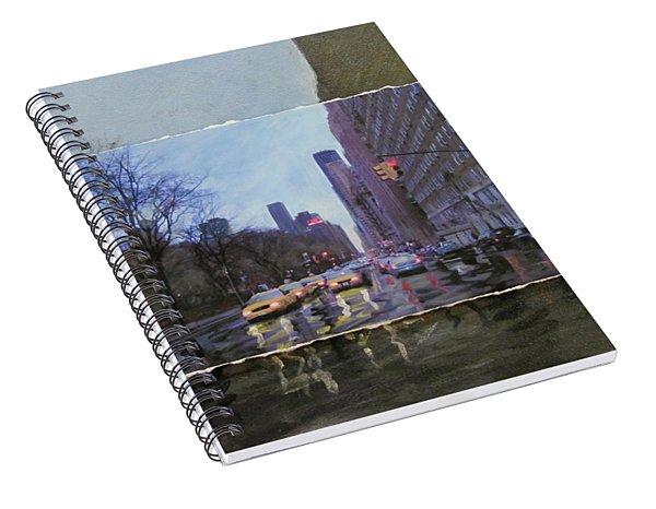 Rainy City Street Layered Spiral Notebook