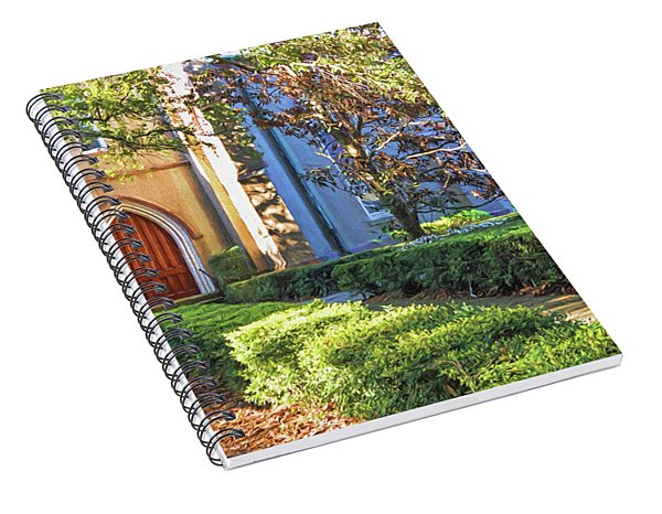 Spiral Notebook featuring the photograph Red Door Church by Kim Hojnacki