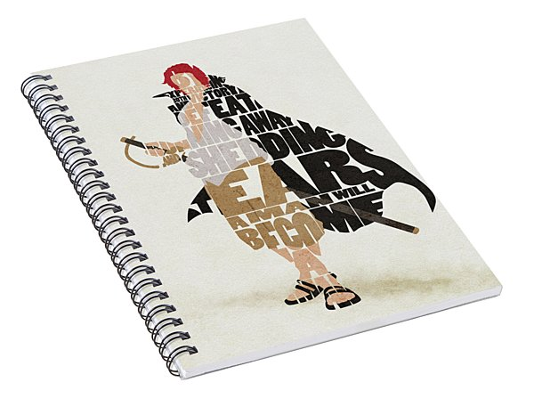 Red-haired Shanks Typography Art Spiral Notebook