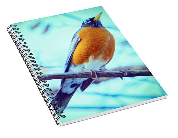 Robin Red Breast In Winter - Impressionism Spiral Notebook