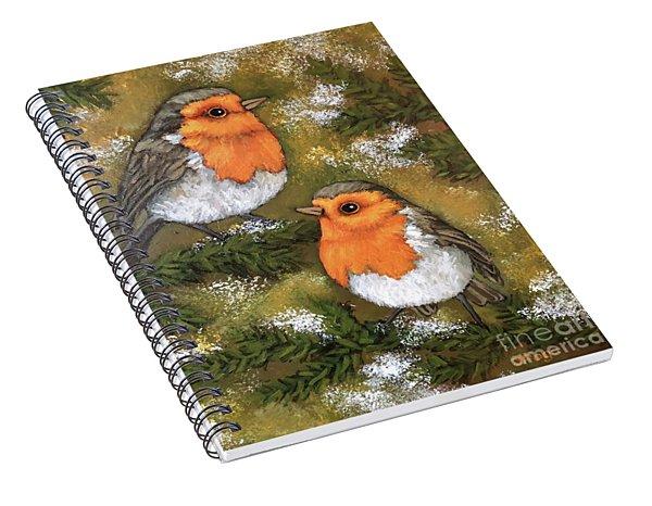 Robins, Winter Spiral Notebook