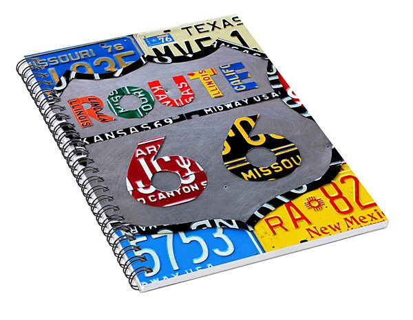 Route 66 Highway Road Sign License Plate Art Spiral Notebook